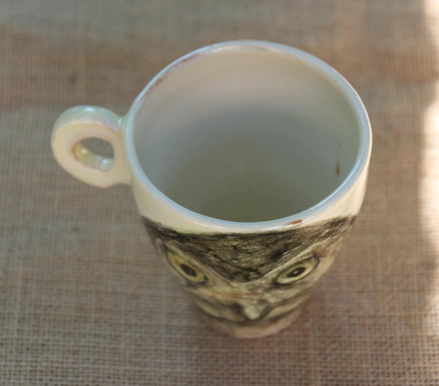 Tasse illustrée d'une Chouette chevêche réalisée aux craies d'oxydes sur fond blanc à l'engobe. Vue de dessus.